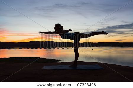 Yoga By The Lake At Sunrise
