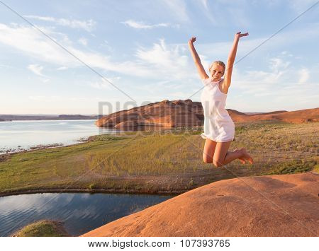 Girl Leaping For Success