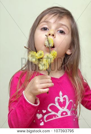 Child With Willow Catkins
