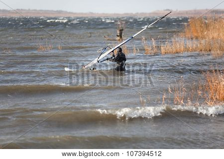 Windsurfer Is Preparing To Start
