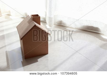 Small Wooden House In The Morning With White Curtain