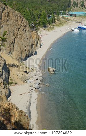 Baikal,RU-July,28 2015:The picturesque coastline of Sandy Bay. Western coast of Lake Baikal.Top view