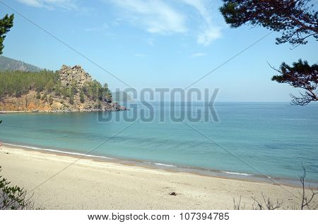 The picturesque sandy beach.  The western coast of Lake Baikal