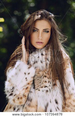 Beautiful European Model In Luxury Lynx Fur Coat