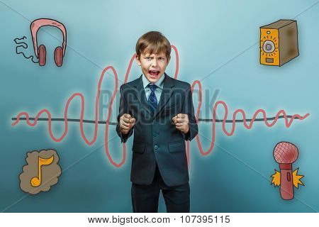 boy businessman clenched his fists and yelling mouth open angry