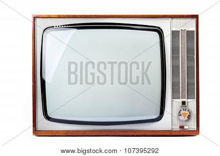 Retro Vintage Television Isolated On White