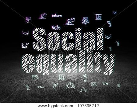 Politics concept: Social Equality in grunge dark room