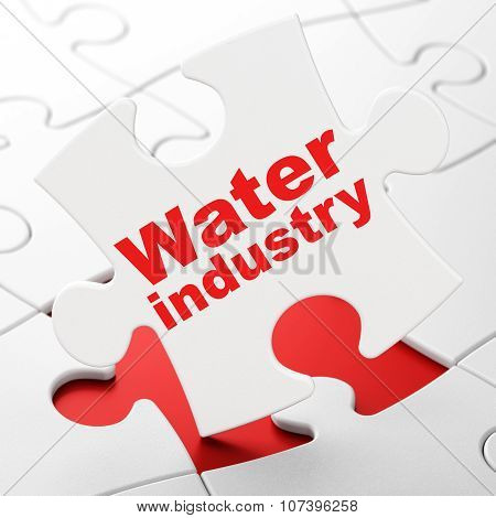 Manufacuring concept: Water Industry on puzzle background