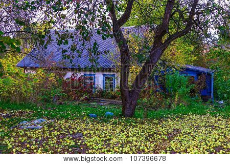 View On Country Home With Yard In Autumn