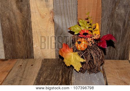 Autumn decor on pallet wood