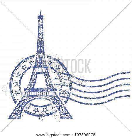 Grunge round stamp with Eiffel Tower - landmark of Paris