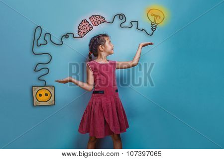teen girl spread her arms and smiles balance charging cord plug