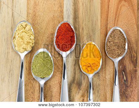 The powders of: bay leaf turmeric mustard red paprika and nutmeg are poured in the spoons