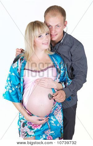Pregnant Woman With Man Isolate