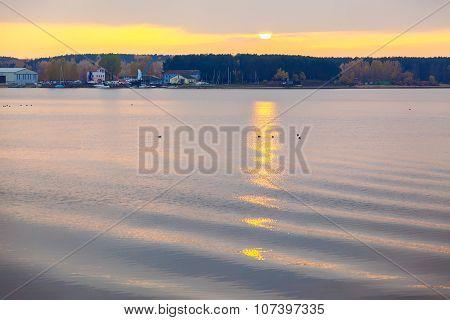 Sundown At Lake In City