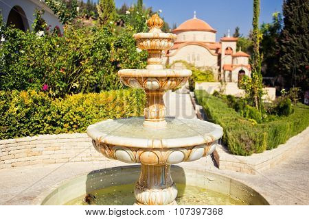 Beautiful fountain in Monastery of Saint George Alamanou