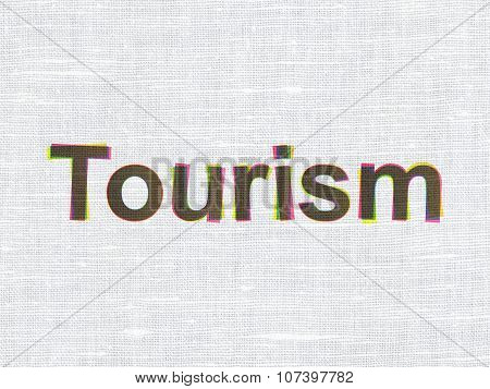 Travel concept: Tourism on fabric texture background