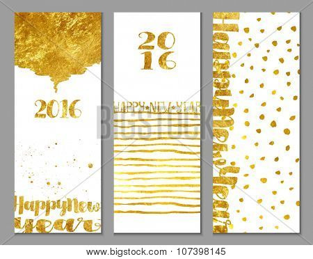 Happy New Year Greetings - Vertical 2016 Happy New Year banners, with shiny gold foil texture and abstract decorative elements on white background, hand drawn