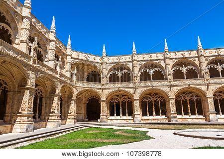 Monastery Of Jeronimos Cloister In Lisbon, Portugal