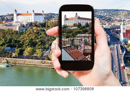 Snapshot Of Bratislava Hrad Castle Over Old Town