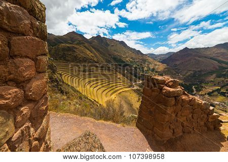 Inca Terraces And Walls In Pisac, Sacred Valley, Peru
