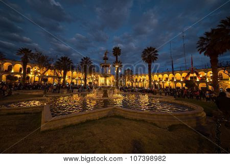 People On Main Square At Twilight, Arequipa, Peru