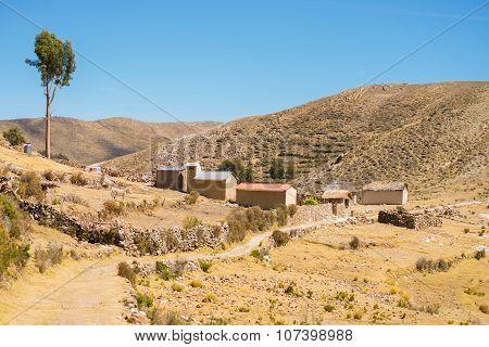 Village On The Island Of The Sun, Titicaca Lake, Bolivia