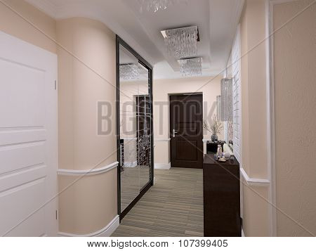3D Illustration Of Interior Design In Style Eclecticism