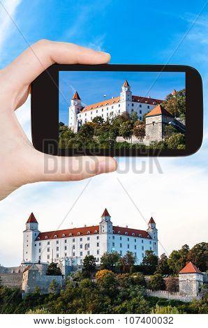 Snapshot Of Bratislava Hrad Castle On Smartphone