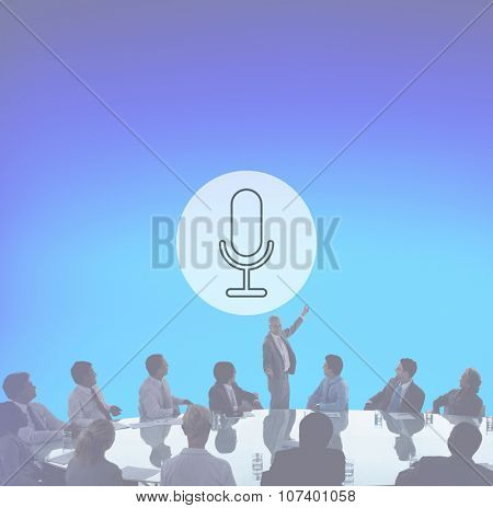 Microphone Announcement Mic Broadcast Recording Speech Concept