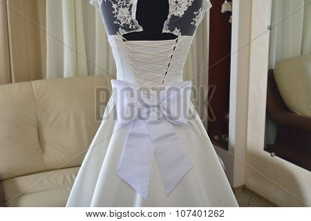 Wedding Dress With White Bow And Corset