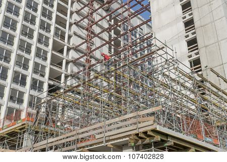 Netherlands - The Hague - Circa November 2015: Scaffolding At The Renovation Of a building.