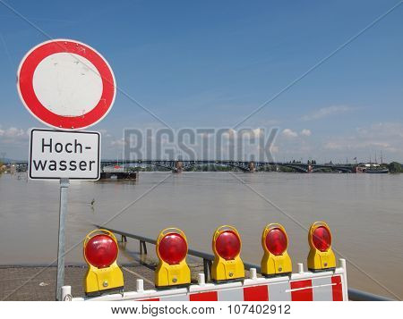 River Rhine Flood In Mainz