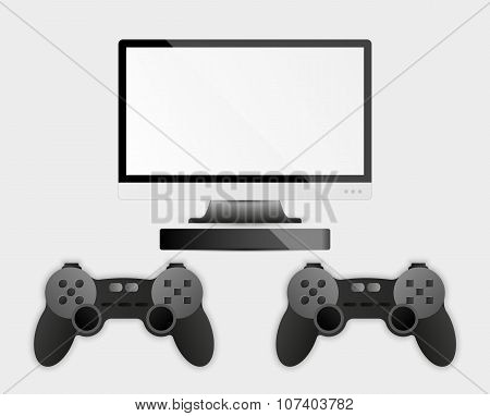 Game Controller, Television And Computer Box