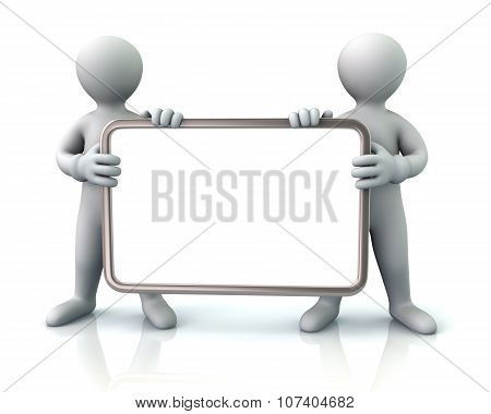 Two Men Holding Blank Signboard