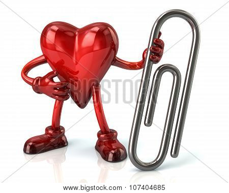 Cartoon Heart Character And Silver Paper Clip