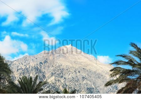 View Of The Mount Tahtali On Blue Sky Background.kemer,turkey.