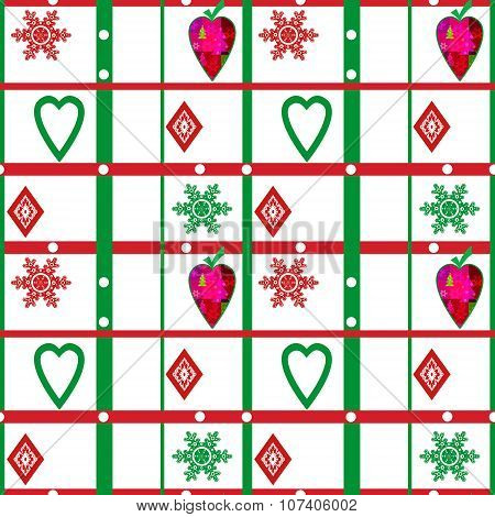 Patchwork Seamless Christmas Pattern With Geometric Background