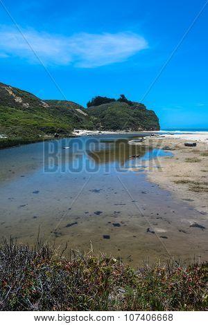 The beach along Pescadero, California