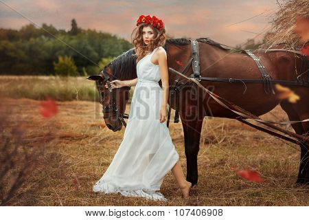 Girl Walks Into The Field With A Horse Fall.