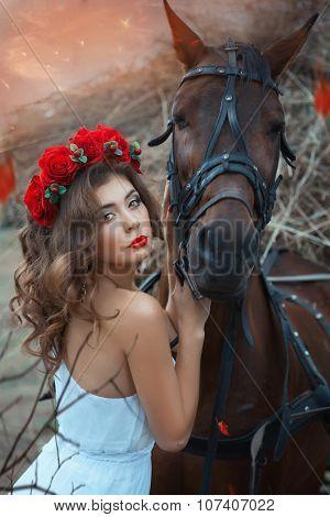 Head Horse Hugging A Cute Girl.