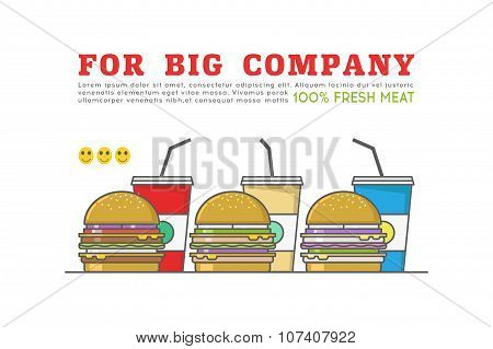 Line Fast Food Illustration- For Big Company. Stock Vector.