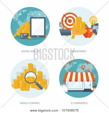 Vector illustration. Flat header. Shopping. Web store. Global communication, trading. E-business. Co
