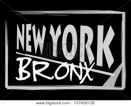 New York Bronx Gray Black Abstract