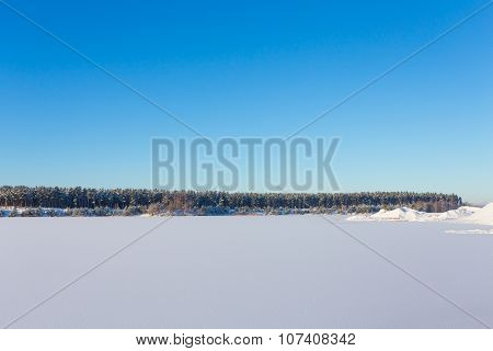 Frozen Lake With Ice And Snow