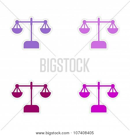 Stylish assembly sticker on paper scales on white background