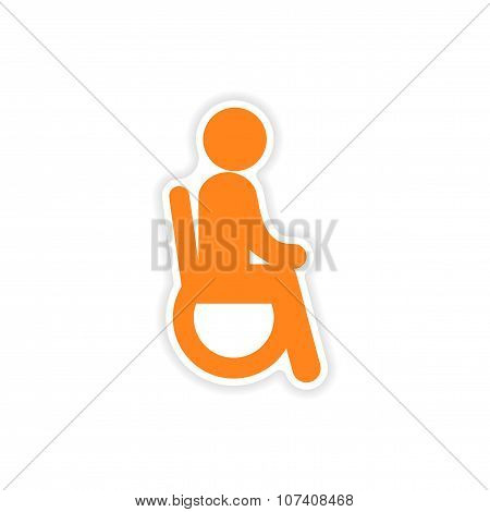 paper sticker man in wheelchair on white background