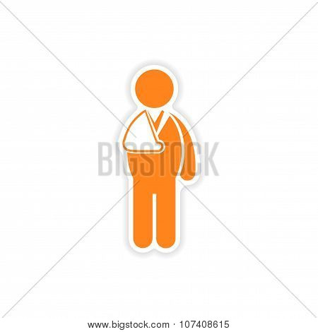 paper sticker man with broken arm on white background