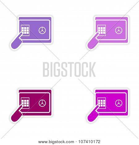 Set of stylish sticker on paper pin code password safe