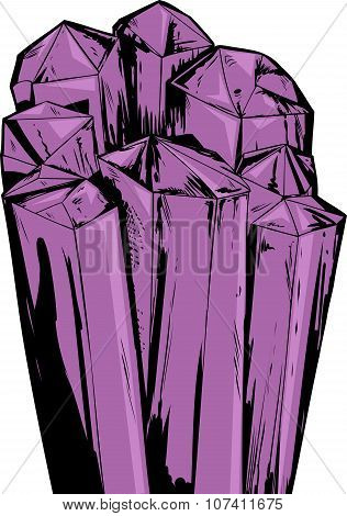 Purple Amethyst Quartz Crystals